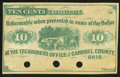 Obsoletes By State:Ohio, Carrollton, OH- Treasurer's Office of Carroll County, OH 10¢ 186_Remainder...