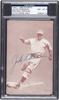Baseball Cards:Singles (1940-1949), Signed 1947-1966 Exhibits Jackie Robinson Rookie PSA/DNA NM-MT 8....