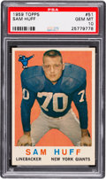 Football Cards:Singles (1950-1959), 1959 Topps Sam Huff #51 PSA Gem MT 10 - Pop Three. ...