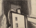 Fine Art - Work on Paper:Drawing, Oscar Florianus Bluemner (American, 1867-1938). Untitled(House), 1932. Charcoal on paper. 3-7/8 x 5 inches (9.8 x 12.7...