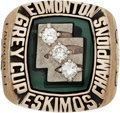 Football Collectibles:Others, 1980 Edmonton Eskimos Grey Cup CFL Championship Ring. ...
