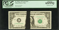 Error Notes:Ink Smears, Fr. 1910-C $1 1977A Federal Reserve Note. PCGS Gem New 65PPQ.. ...