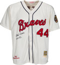 "Baseball Collectibles:Uniforms, Hank Aaron ""HOF 82"" Signed Milwaukee Braves Jersey...."