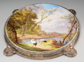 Ceramics & Porcelain, A Baccarat Painted Opaline Glass Charger on Silver-Plated Plateau, circa 1900. Marks: (Baccarat paper label to charger). 16-...