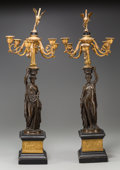 Decorative Arts, French:Other , A Pair of Six-Light Empire Gilt and Patinated Bronze FiguralCandelabra, after Louis Valentin Elias Robert, 19th century. Ma...(Total: 2 Items)