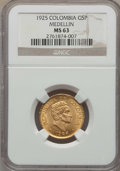 Colombia, Colombia: Republic gold 5 Pesos 1925 MS63 NGC,...