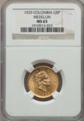 Colombia, Colombia: Republic gold 5 Pesos 1929 MS65 NGC,...