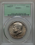 Kennedy Half Dollars, 1982-P 50C MS66+ PCGS. PCGS Population (232/9 and 11/0+). NGC Census: (53/3 and 0/0+). Mintage: 10,819,000. ...