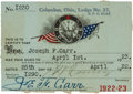 """Football Collectibles:Others, 1922-23 Joe Carr Signed Elks Club Pass from """"The Joe Carr Find.""""..."""