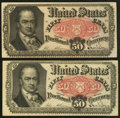 Fractional Currency:Fifth Issue, A Pair of Fr. 1380 50¢ Fifth Issue Notes Very Fine-Extremely Fineor Better.. ... (Total: 2 notes)