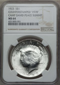 Counterstamps, 1923 Peace Dollar -- Counterstamped -- '1978' Camp David Peace Summit MS64 NGC....