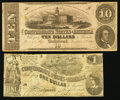 Confederate Notes:1862 Issues, T44 $1 1862 PF-3 Cr. 341. T52 $10 PF-3 Cr. 371.. ... (Total: 2notes)