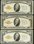 Small Size:Gold Certificates, Fr. 2400 $10 1928 Gold Certificates. Three Examples. Fine or Better.. ... (Total: 3 notes)