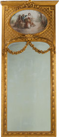 Furniture : French, A Monumental French Carved Giltwood Trumeau Mirror, circa 1900.Marks to canvas: A DUBOIS. 107-1/2 inches high x 46 inch...