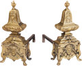 Decorative Arts, French:Other , A Pair of Louis XV-Style Gilt Bronze Chenets, circa 1880. 25 h x11-1/2 w x 28 d inches (63.5 x 29.2 x 71.1 cm). ... (Total: 2Items)