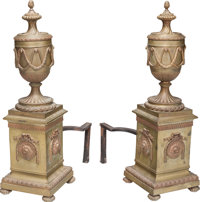 A Pair of French Neoclassical Patinated Bronze Chenets, late 19th century 27-1/4 h x 8-1/2 w x 17 d inches (69.2 x