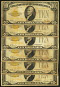 Small Size:Gold Certificates, Fr. 2400 $10 1928 Gold Certificates. Six Examples. Very Good or Better.. ... (Total: 6 notes)