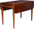 Furniture : English, An English Hepplewhite Mahogany and Satinwood Pembroke Table, circa 1795-1820. 27-3/4 h x 41-5/8 w x 38-1/8 d inches (70.5 x...
