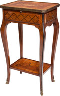 Furniture : French, A Transitional-Style Marquetry and Fruitwood Side Table with HiddenDrawer, early 20th century. 27-3/4 h x 11-3/4 w x 15-1/2...
