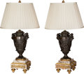 Decorative Arts, French:Other , A Pair of French Patinated Bronze Urn Lamps on Gilt Bronze andMarble Bases, after Claude Michel Clodion, 19th century and l...(Total: 4 Items)
