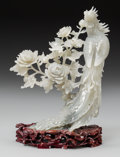 Asian:Chinese, A Chinese Carved White Jade Group with Stand: Phoenix and Peony Tree. 8-3/4 h x 7 w inches (22.2 x 17.8 cm) (jade, w...