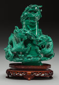 Asian:Chinese, A Chinese Carved Malachite Figural Urn on Stand with Rooster andDragon Motif,. 6-7/8 inches high x 5-3/4 inches wide (17.5 ...