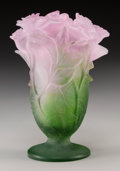 Art Glass:Daum, A Small Daum Pink and Green Pate-de-Verre Glass Roses Vase,Nancy, France, 20th century. Marks: Daum, France...
