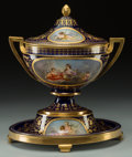 Ceramics & Porcelain, A Fischer and Mieg Pirkenhammer Painted and Partial Gilt Porcelain Covered Urn, circa 1870. Marks: (crown-hammers-ribbon), ...