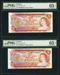 Canadian Currency: , BC-47a $2 1974 Low Serial Number Pair. ... (Total: 2 notes)