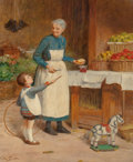 Fine Art - Painting, European:Modern  (1900 1949)  , Victor Gabriel Gilbert (French, 1847-1933). May I Have an Apple?. Oil on canvas. 21-3/4 x 18-1/4 inches (55.2 x 46.4 cm)...
