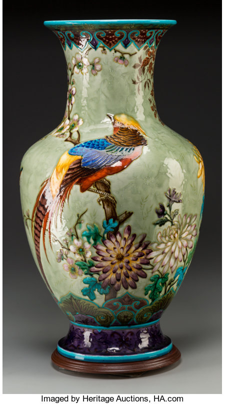 A Monumental Theodore Deck Grand Vase with Chinoiserie Motif, Paris, France, circa 1880Marks: TH DECK22-1/2 inches h...