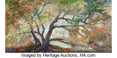 Rita Hoffman Shulak (American, 20th Century)Rita's TreeOil on canvas24 x 48 inches (61 x 121.9 cm)Signed lower l...