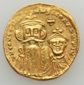 Ancients:Byzantine, Ancients: Constans II & Constantine IV (654-668). AV solidus (4.44 gm). Good Very Fine...