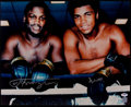 Boxing Collectibles:Autographs, Muhammad Ali and Joe Frazier Signed Oversized Photograph....