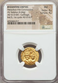 Ancients:Byzantine, Ancients: Heraclius & Heraclius Constantine (AD 613-638). AVsolidus (4.44 gm)....