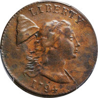 1794 1C Head of 1793, Edge of 1793, S-19a, B-3a, High R.5, VF35 Bland, VF30 Noyes; XF40 PCGS Secure. ...(PCGS# 35516)