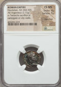 Ancients:Roman Imperial, Ancients: Diocletian (AD 284-305). AR argenteus (2.72 gm). NGCChoice MS 4/5 - 5/5, flan crack.  ...