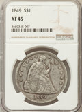 Seated Dollars: , 1849 $1 XF45 NGC. NGC Census: (38/230). PCGS Population (74/247). Mintage: 62,600. ...