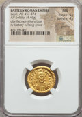 Ancients:Roman Imperial, Ancients: Leo I (AD 457-474). AV solidus (4.46 gm). NGC MS 5/5- 4/5, graffito. ...