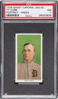 Baseball Cards:Singles (Pre-1930), 1911 T206 Sweet Caporal Ty Cobb Green Background PSA NM 7....