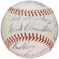 Baseball Collectibles:Balls, Late 1960's New York Yankees Old Timers Multi-Signed Baseball (25 Signatures)....