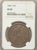 Seated Dollars: , 1844 $1 VF20 NGC. NGC Census: (3/156). PCGS Population (5/261). Mintage: 20,000. CDN Wsl. Price for problem free NGC/PCGS c...