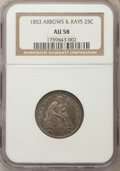 1853 25C Arrows and Rays AU58 NGC. NGC Census: (140/426). PCGS Population (122/398). Mintage: 15,210,020. CDN Wsl. Price...