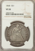 Seated Dollars: , 1868 $1 VF20 NGC. NGC Census: (2/104). PCGS Population (4/174). Mintage: 162,100. CDN Wsl. Price for problem free NGC/PCGS ...