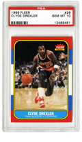 Basketball Cards:Singles (1980-Now), 1986-87 Fleer Clyde Drexler Rookie #26 PSA Gem Mint 10. With nary a flaw to be observed, the current offering consists of a ...