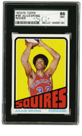 Basketball Cards:Singles (1970-1979), 1972-73 Topps Julius Erving Rookie #195 SGC 86 NM+ 7.5. A superstaris born, and that historic debut is announced upon this...