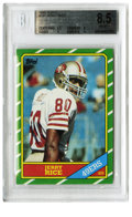 Football Cards:Singles (1970-Now), 1986 Topps Jerry Rice #161 Beckett NM-MT+ 8.5. Arguably thegreatest receiver ever to set foot on the NFL gridiron, the 49'...