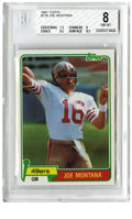 Football Cards:Singles (1970-Now), 1981 Topps Joe Montana Rookie #216 Beckett NM-MT 8. A glorious newera in the Bay area is heralded by this essential rookie...