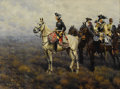 Fine Art - Painting, European:Modern  (1900 1949)  , HUGO UNGEWITTER (German 1869-1944). Frederick the GreatSurveying the Field of Battle, 1922. Oil on canvas. 32-1/2 x43-...