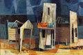 Texas:Early Texas Art - Modernists, DEFORREST JUDD (1916-1992). Ghost Town, 1954. Oil onmasonite. 24 x 36 inches (61.0 x 91.4 cm). Signed and dated low...